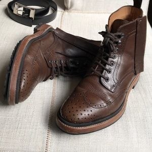 Lanvin Men's Brown Leather Brogue Combat Boot